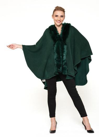WHIP Design Düz Şal Yaka Uzun Kol Viskon Pelerin Yeşil